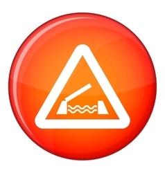 Lifting bridge warning sign icon flat style vector