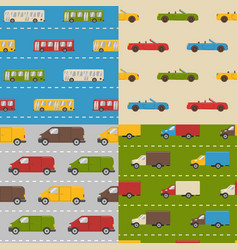 set of seamless patterns with colorful cars vector image vector image