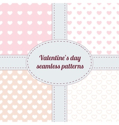 Set of Valentine seamless patterns with hearts vector image