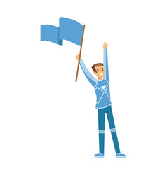 smiling football fan character in blue holding vector image vector image