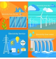 Solar and hydro electricity windy vector