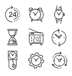 black flat clocks vector image