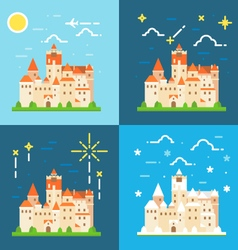 Bran castle germany flat design vector