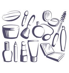 cosmetics sketches vector image vector image