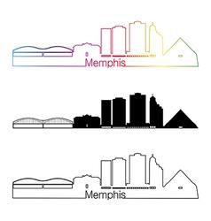 Memphis skyline linear style with rainbow vector image