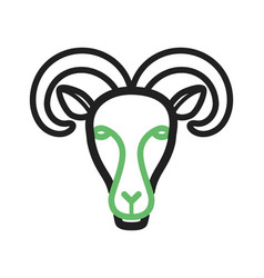 moutain goat face vector image vector image