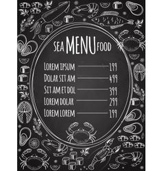Seafood chalkboard menu template vector