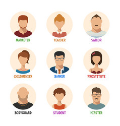 set of isolated faces for different professions vector image