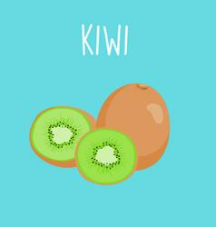 fresh kiwi on blue balckground vector image vector image