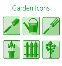 Green gardening icons set over a white background vector image