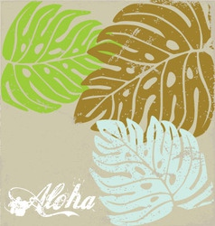 Hawaii text aloha Background with Hibiscus leave vector image vector image