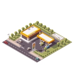 isometric filling station vector image vector image