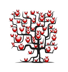 Love tree wih red hearts for your design vector image vector image