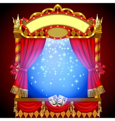 Puppet show booth with theater vector image