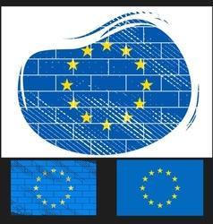 Scratched EU flag vector image vector image