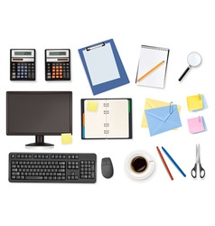 big office supplies set4 vector image
