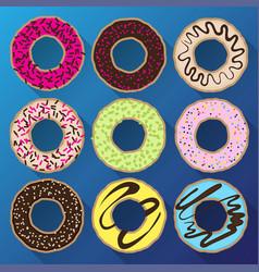 donut minimalistic flat set with sweet cream vector image vector image