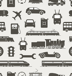Vintage and modern vehicle silhouettes seamless vector image vector image