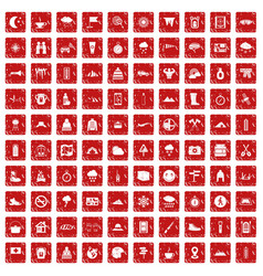 100 mountaineering icons set grunge red vector