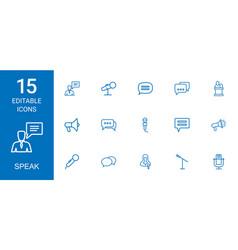 15 speak icons vector