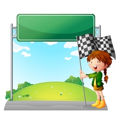 A girl holding a racing flag vector image