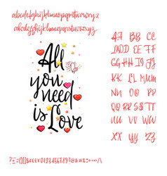 all you need is love modern calligraphy vintage vector image
