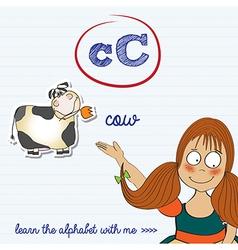 Alphabet worksheet of the letter c vector