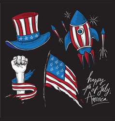 America independence day cartoon drawing elements vector