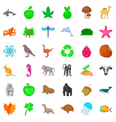 animal species icons set cartoon style vector image