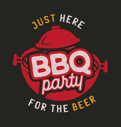barbecue party logo template bbq print for t vector image