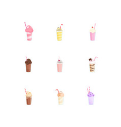 beautiful milkshakes in transparent glasses made vector image