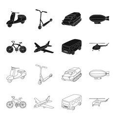 Bicycle airplane bus helicopter types of vector