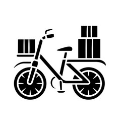 Bicycle delivery glyph icon bike with parcel vector