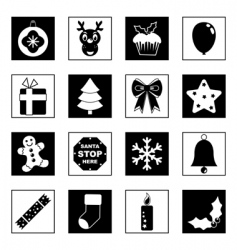 black and white Christmas icons vector image