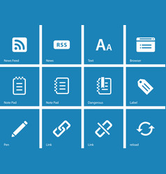 Blogger icons on blue background vector