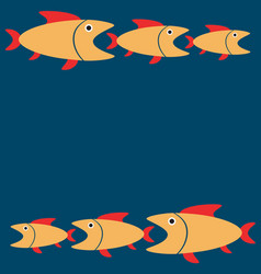 blue background with yellow fishes cartoon vector image