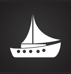 boat with sail on black background vector image