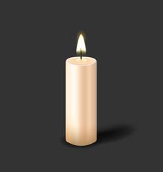 burning realistic pillar candle vector image
