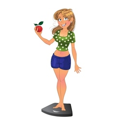 Cheerful slim girl on scales with red apple vector