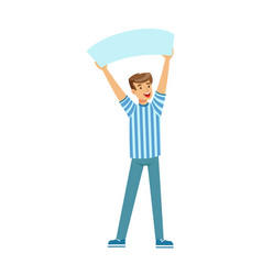 Cheering football fan character in blue holding vector