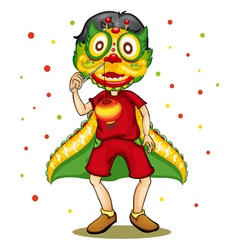 Child in dragon costume vector image
