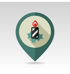 Christmas candle flat pin map icon vector image