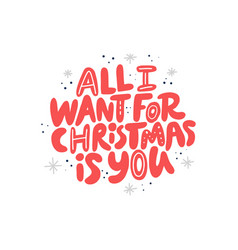 christmas hand drawn red lettering vector image