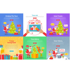 Christmas tree decor xmas sale santa presents vector