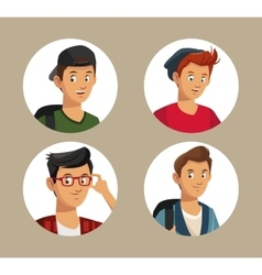 collection teens boy students style vector image