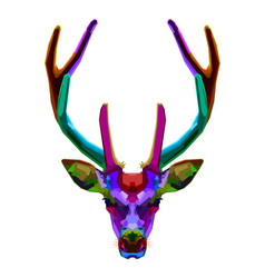 colorful deer head on pop art style vector image