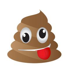 Crazy poop emoji vector
