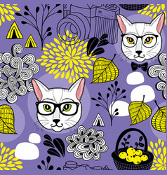Creative endless background with smart cats and vector