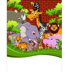 Cute animal wildlife cartoon with blank sign vector