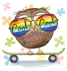 cute owl with sun glasses on a skateboard vector image